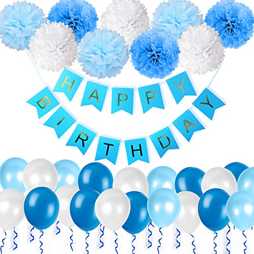 Happy Birthday Decorations Bunting Banner With Pearl Balloons Pom Poms Tissue Flowers Garland For Boys In Blue Party Supplies By WonderforU