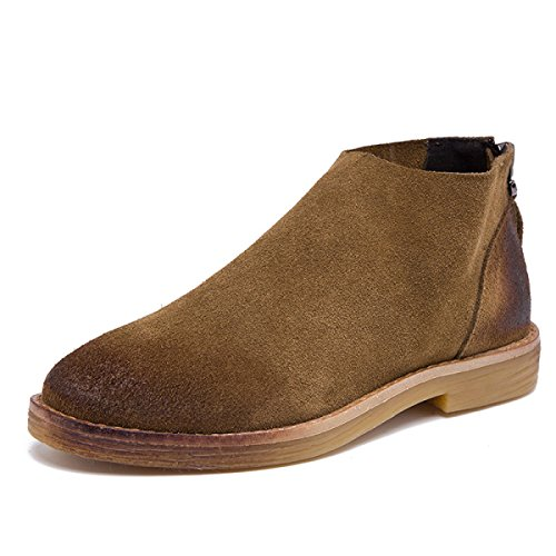 WJNKK Neue Frauen Damen Flache Reißverschluss Stiefeletten Schuhe Modische Retro Freizeit Große Größe 35-40 Brown