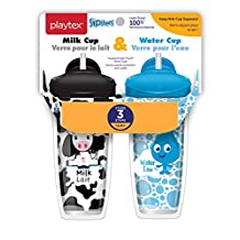 Playtex Baby Sipsters Spill-Proof Milk & Water Straw Cups for Kids, Stage 3 (12+ Months), Pack of 2 Cups