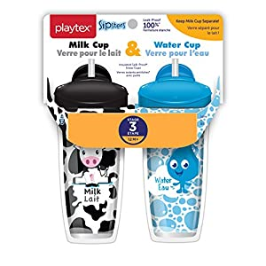 Playtex Sipsters Stage 3 Milk and Water Spill-Proof, Leak-Proof, Break-Proof Insulated Toddler Straw Sippy Cup Set, 9 Ounce - 2 Count