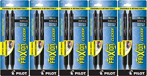 PILOT FriXion Clicker Erasable, Refillable & Retractable Gel Ink Pens, Fine Point, Black Ink, 5 Pack of 2 (31460)