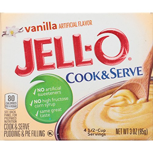 JELL-O Cook & Serve Pudding & Pie Filling, Vanilla, 3 Ounce Boxes by Jell-O (Image #1)