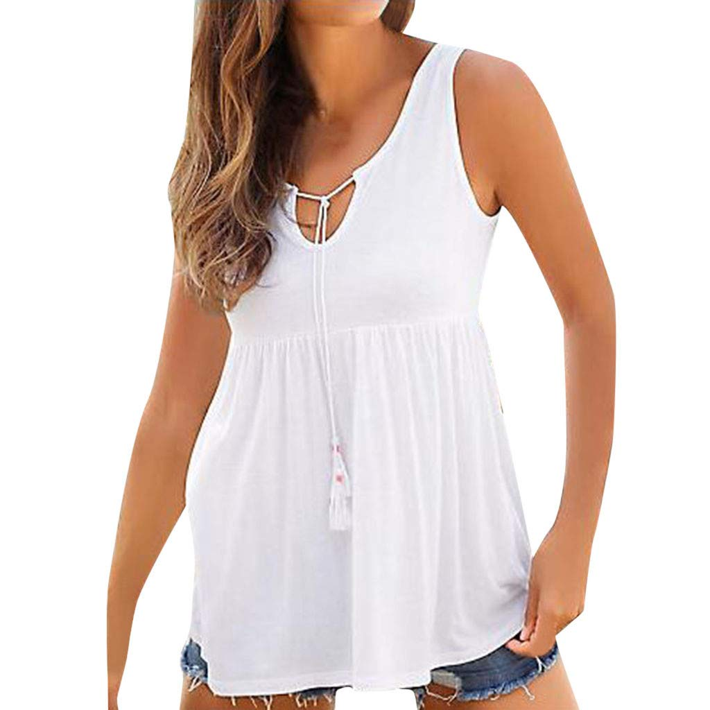 Sexy Tank Tops foer Women Fashion Tassel Solid Color Loose Strap Vest Pleated Hem Shirt (M, White)