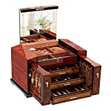 LUCKYYAN Large Capacity Solid wood Jewelry Box Organizer with Lock and Key and Big Mirror on the Lid - 3 Slide Drawers - 2 Small Side Cabinets