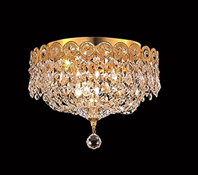 Century Collection 3 Light Crystal Flush Mount Ceiling Fixtures in Gold Finish