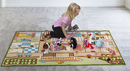 Kids Carpet Playmat Rug Play Time! Fun House Great For Playing With Dolls Mini People Figures Cars, Toys - Learn Educational Play Safe & Have Fun - Children Play Mat,Play Game Area Includes 3D Rooms! by Nessie Playground (Image #7)