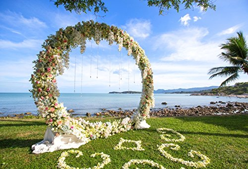 CSFOTO 6x4ft Wedding Ceremony Arch On Beach Background Ocean Seaside Sunny Coast Grassland Photography Backdrop Romantic Propose Bless Bride Groom Studio Props Artistic Portrait Wallpaper]()