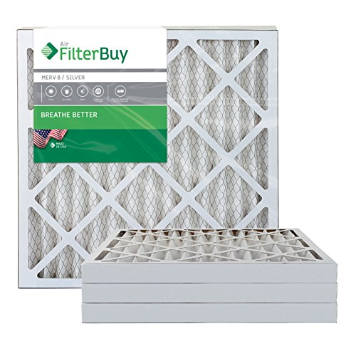 AFB Silver MERV 8 24x25x2 Pleated AC Furnace Air Filter. Pack of 4 Filters. 100% produced in the USA.