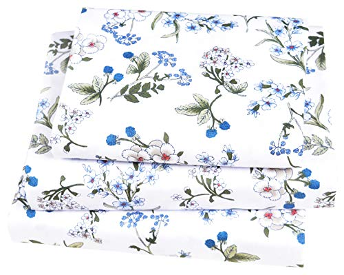 Price comparison product image J-pinno Little Blue Floral Blooming Twin Sheet Set for Kids Girl Children, 100% Cotton