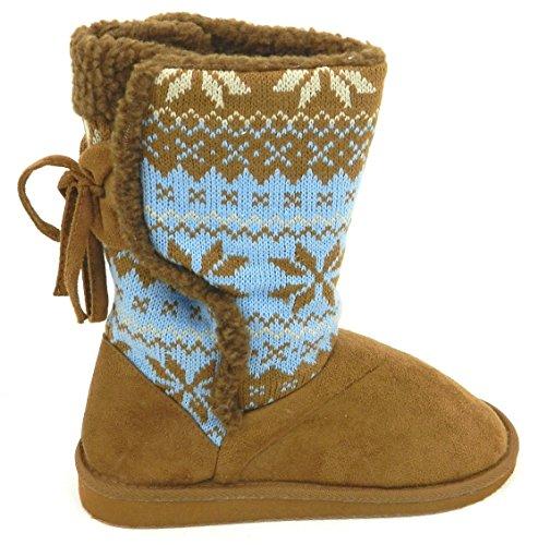 Vrouwen Multi Kleur Warme Winter Bont Sneeuw Gebreide Trui Haak Half Kalf Platte Laars Schoenen Kameel