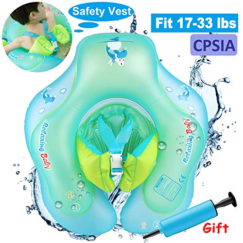 (Baby Swimming Training Pool Float with Double Airbags Adjustable Strap,Inflatable Swim Float Ring for 6-30 Months Baby Infant Toddlers Learn to Swim Trainer Aid Outdoor Swim Pool Bathtub Accessories)