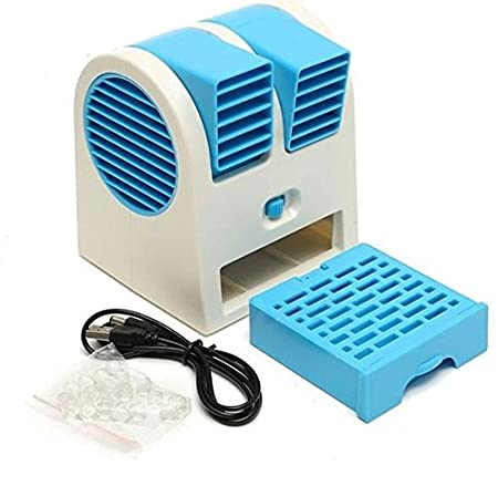 GIGGLE Mini Fan and Portable Dual Bladeless Small Air Conditioner Water Air Cooler Powered by USB and Battery, Multicolor