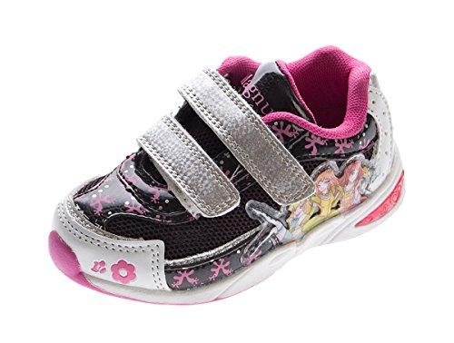 Kinder Sneaker Aufdruck Klettverschluss Mädchen Halb Schuhe Sportschuhe Gr. 22-27 Schwarz-Fuchsia