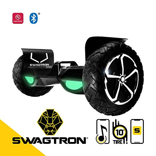 "Swagtron Swagboard Outlaw T6 Off-Road Hoverboard - First in The World to Handle Over 380 LBS, Up to 12 MPH, UL2272 Certified, 10"" Wheel"