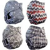 AngelicWare Cloth Diapers all in One Size Set (4 Pack). Reusable Baby Bamboo Pocket Diaper + 5 Layer Inserts. Best Designer Print Diapering Gift Pack + Bonus EBOOK