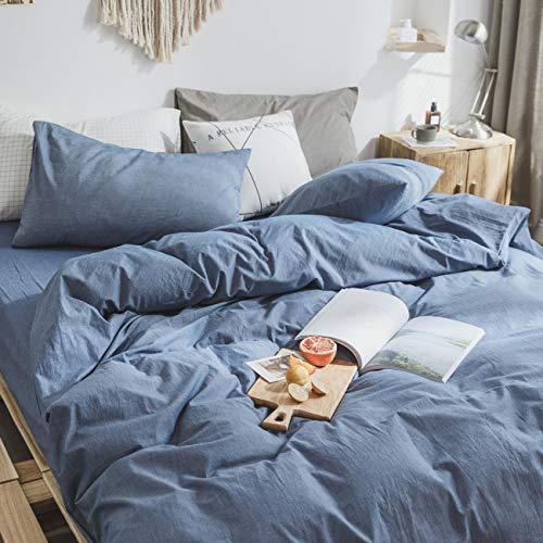 ZYEN Duvet Covers Queen Denim Blue Luxury 100% Washed Cotton Duvet Cover Set Kids Adults Quilt Cover Bedding Sets with Zipper Closure (JCK- Denim Blue, Queen)