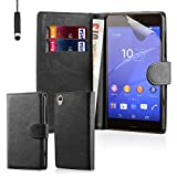 32nd® Book wallet PU leather case cover for Sony Xperia Z3 mobile phone - Black
