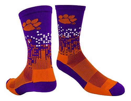 Clemson Downtown Crew Socks (Purple/Orange/White, Large)