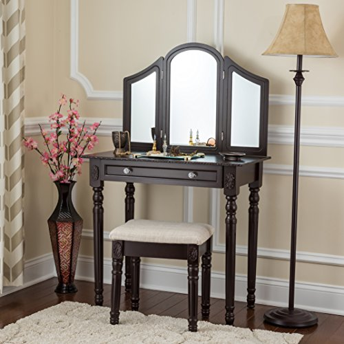 Fineboard Three Mirror Vanity Dressing Table Set with Stool. Single Drawer Makeup Table and Mirror set in Wood (Brown)