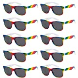 WHOLESALE UNISEX 80'S STYLE RETRO BULK LOT SUNGLASSES (Brilliant Rainbow, Smoke)