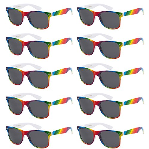 WHOLESALE UNISEX 80'S STYLE RETRO BULK LOT SUNGLASSES (Brilliant Rainbow, Smoke) -