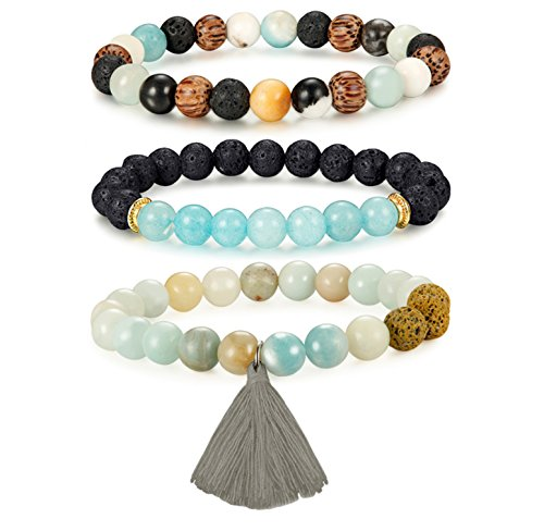 Gemstone Tassel Bracelet-FIBO STEEL 3 Pcs Gemstone Tassel Bracelet for Women Essential Oil Diffuser Bracelet Bead 8MM Amazonite from FIBO STEEL