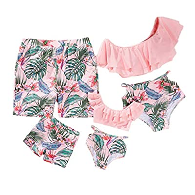 Yaffi Family Matching Swimwear Two Pieces Bikini Set 2019 Newest Printed Ruffles Mommy and Me Bathing Suits Men: L Pink