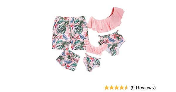 66a9227171 Amazon.com  Yaffi Family Matching Swimwear Two Pieces Bikini Set 2019  Newest Printed Ruffles Mommy and Me Bathing Suits  Clothing