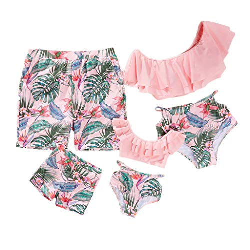 Yaffi Family Matching Swimwear Two Pieces Bikini Set 2019 Newest Printed Ruffles Mommy and Me Bathing Suits Boys: 6-7 Years Pink (Best Bikini Photos Of All Time)