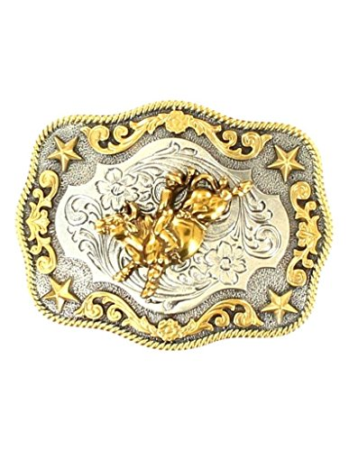 Roped Edge Belt Buckle - Nocona Boy's Roped Edge Bull Rider Belt Buckle, Silver, Gold, OS