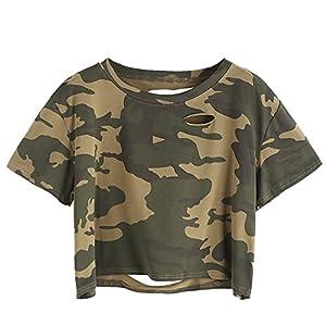 SweatyRocks Women's Summer Short Sleeve Tee Distressed Ripped Crop T-Shirt Tops