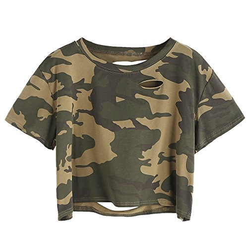 SweatyRocks Women's Summer Short Sleeve Tee Distressed Ripped Crop T-shirt Tops (Large, Camo)