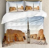 Galaxy Duvet Cover Set by Ambesonne, Image of Fantasy Movie Set Town of Fantasy Planet Out of Space Galaxy Wars Themed, 3 Piece Bedding Set with Pillow Shams, Queen / Full, Brown Blue