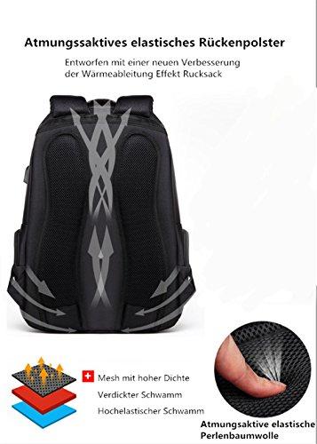 YOJAP Laptop Rucksack, Damen Herren Notebook Business Tasche mit USB Kabel und Anschluss für bis zu 15 Zoll Stylisch Oxford Rucksäcke Gepolstert Daypacks für Arbeit Schul Outdoor Schwarz