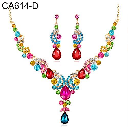 - CHoppyWAVE Wedding Necklace Earrings Jewelry Set Elegant Rhinestone Teardrop Pendant for Women Lady - Colorful
