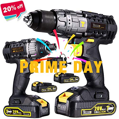 Impact Driver and Hammer Drill, 20V Combo Kits, 2X2.0Ah Li-Ion Batteries, 30-Min Quick Charger, 32pcs Accessories TECCPO