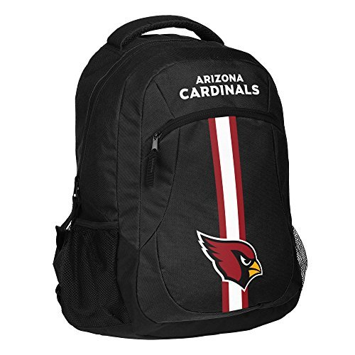 1pc Large NFL Cardinals Backpack, STL Merchandise Athletic American Team Spirit Fan Black White Red, Stripe Logo Football Themed School Bag Sports Pattern, Polyester by Unknown