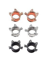 IPINK Cute Kitten Cat Ear Plugs Tunnels Gauges Stretcher Piercings 3 Pairs 2G-25mm