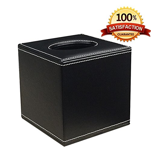 Tissue Box Holder, Love Nest Black Smooth PU Leather Square Roll Tissue Box Cover for Holding Kleenex Ficial Tissues Case Magnetic Closure Base Tray Pumping for Home Office Car Bathroom Organizer