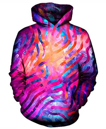 Men Hoodie Galaxy Lines Print Pullovers Sweatshirt Tracksuit