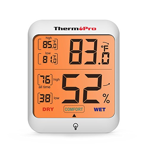 ThermoPro TP53 Digital Thermo-hygrometer with Backlit LCD Display,...