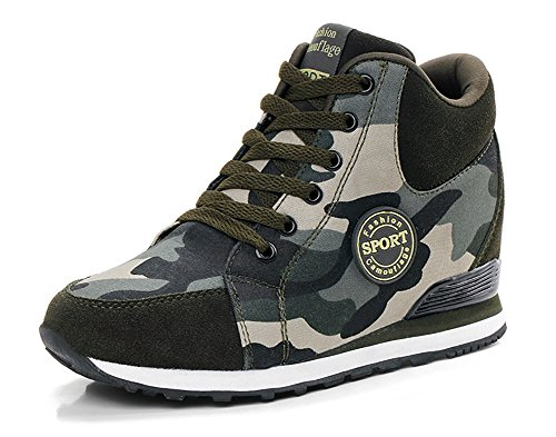 COSDN Womens Camouflage Invisible High-Heeled Wedge Platform Sneakers Casual Shoes Size 4.5 Army Green