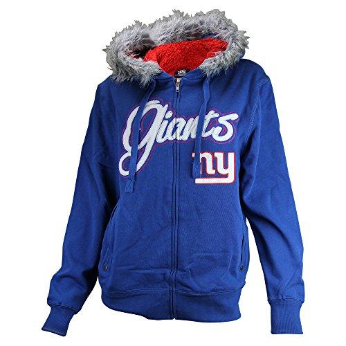 Women's NFL Full Zip Sherpa Lined Hoodie (New York Giants, Medium)