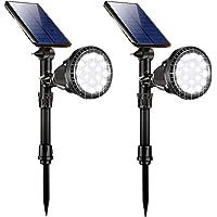 Lámparas Solares para Jardín (2 paquete), GIANTARM 18 LED Luz Solar Exterior para jardín, 2 modos de iluminación, IP65…
