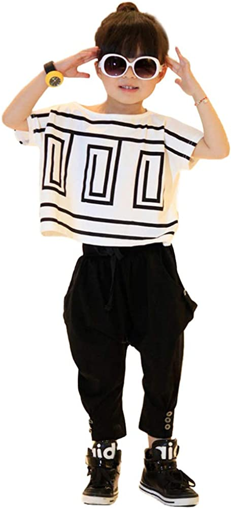 Kids Girl Hip Hop Summer Clothing Set T-Shirt Harem Pants Outfit