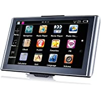 HTQ GPS Navigator 7 Inch TFT LCD Touch Screen Preloaded Maps Music/Movie Player Multi-language Compatible with Window XP (Silver)