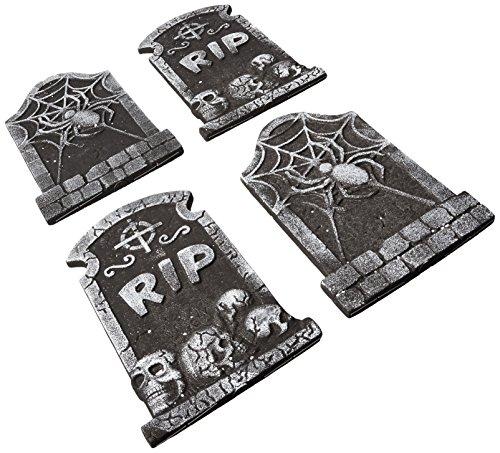 4-Foam Tombstone Halloween Graveyard Cemetary Prop Decoration Lawn Yard Decor (Pack of 4) (Foam Tombstone)