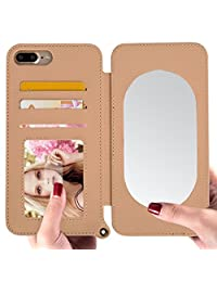 Wallet Phone Case with Mirrors and Grooves,Slim Flap Cover and 2 Card Slots