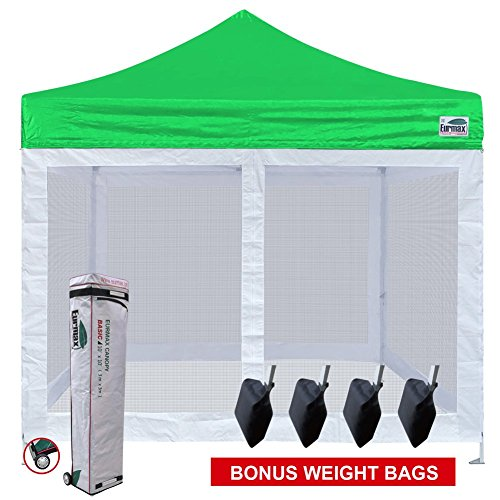 3 Wall Screen - Eurmax Basic 10x10 Ez Pop up Canopy Screen Houses Shelter Instant Party Tent Gazebo +4 Removable Zipper End Mesh Sidewalls + roller Bag (Kelly Green)