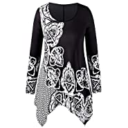 XOWRTE Women's Plus Size O-Neck Tops Folk-Custom Print Irregular Fall Long Sleeve Tunic T-Shirt Blouse